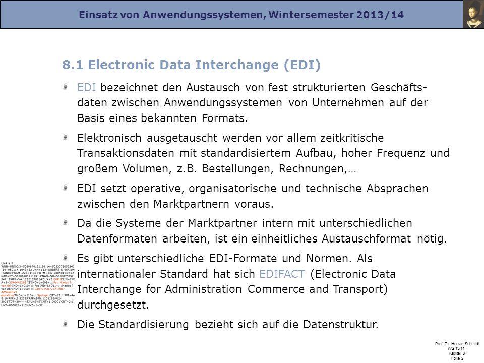 Einsatz von Anwendungssystemen, Wintersemester 2013/14 Prof. Dr. Herrad Schmidt WS 13/14 Kapitel 8 Folie 2 8.1 Electronic Data Interchange (EDI) EDI b