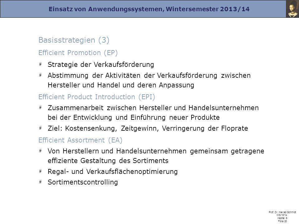 Einsatz von Anwendungssystemen, Wintersemester 2013/14 Prof. Dr. Herrad Schmidt WS 13/14 Kapitel 8 Folie 20 Basisstrategien (3) Efficient Promotion (E