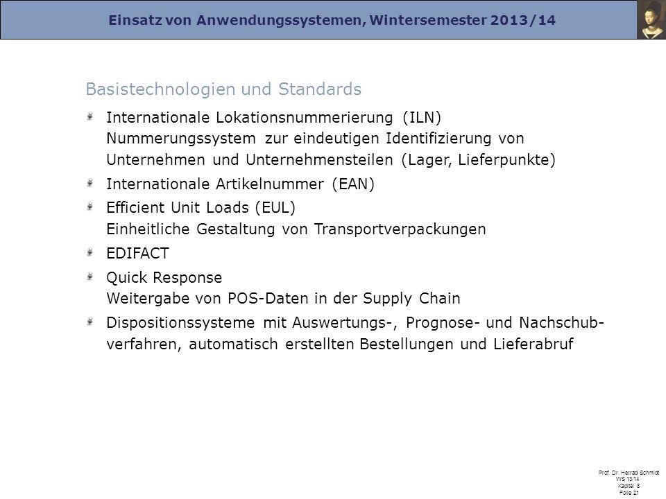 Einsatz von Anwendungssystemen, Wintersemester 2013/14 Prof. Dr. Herrad Schmidt WS 13/14 Kapitel 8 Folie 21 Basistechnologien und Standards Internatio