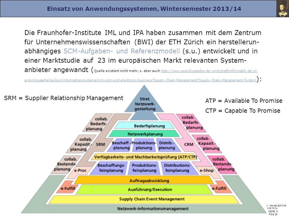 Einsatz von Anwendungssystemen, Wintersemester 2013/14 Prof. Dr. Herrad Schmidt WS 13/14 Kapitel 8 Folie 23 Die Fraunhofer-Institute IML und IPA haben