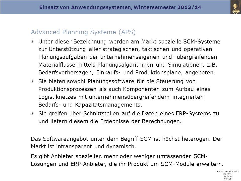 Einsatz von Anwendungssystemen, Wintersemester 2013/14 Prof. Dr. Herrad Schmidt WS 13/14 Kapitel 8 Folie 25 Advanced Planning Systeme (APS) Unter dies