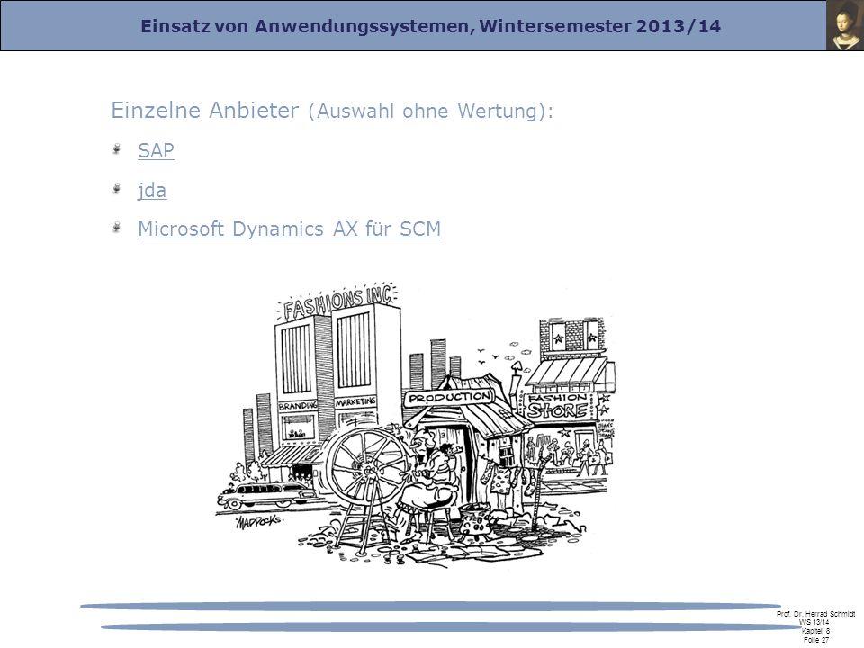 Einsatz von Anwendungssystemen, Wintersemester 2013/14 Prof. Dr. Herrad Schmidt WS 13/14 Kapitel 8 Folie 27 Einzelne Anbieter (Auswahl ohne Wertung):