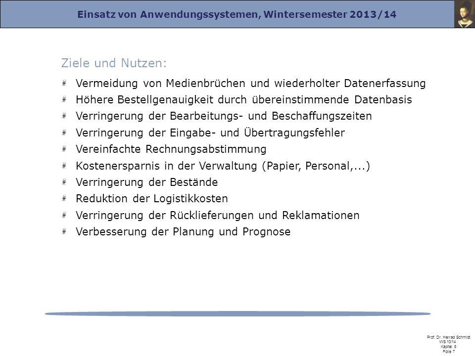 Einsatz von Anwendungssystemen, Wintersemester 2013/14 Prof. Dr. Herrad Schmidt WS 13/14 Kapitel 8 Folie 7 Ziele und Nutzen: Vermeidung von Medienbrüc