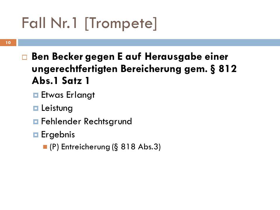 Fall Nr.1 [Trompete] Ben Becker gegen E auf Herausgabe einer ungerechtfertigten Bereicherung gem. § 812 Abs.1 Satz 1 Etwas Erlangt Leistung Fehlender