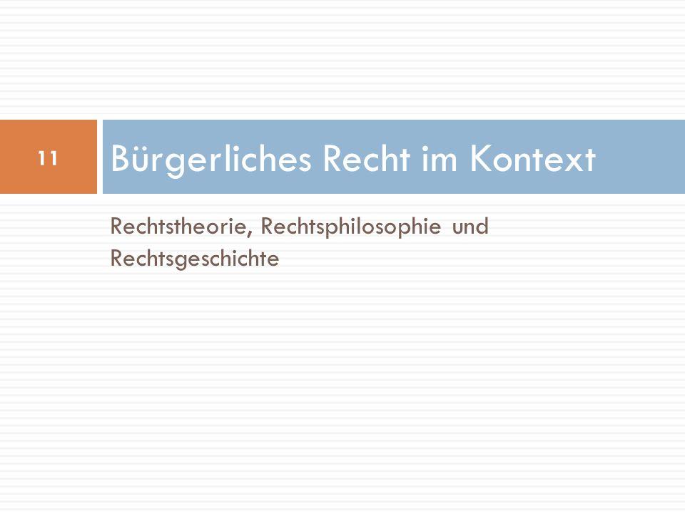 Rechtstheorie, Rechtsphilosophie und Rechtsgeschichte Bürgerliches Recht im Kontext 11