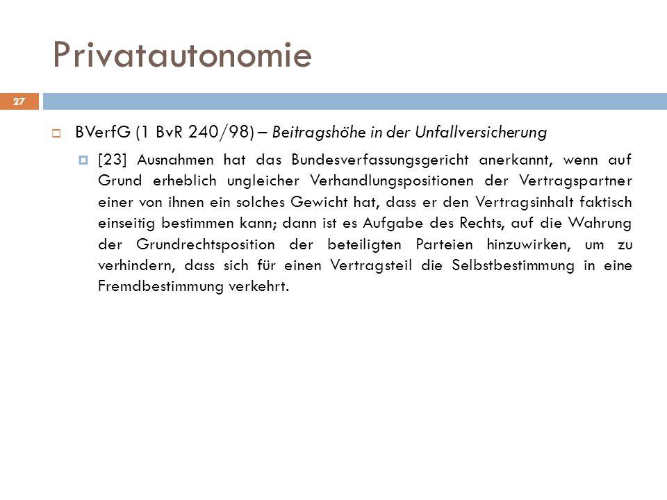 Privatautonomie BVerfG (1 BvR 240/98) – Beitragshöhe in der Unfallversicherung [23] Ausnahmen hat das Bundesverfassungsgericht anerkannt, wenn auf Gru
