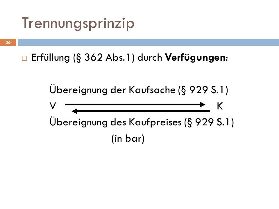 Trennungsprinzip Erfüllung (§ 362 Abs.1) durch Verfügungen: Übereignung der Kaufsache (§ 929 S.1) VK Übereignung des Kaufpreises (§ 929 S.1) (in bar)