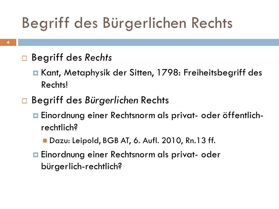 Begriff des Rechts Kant, Metaphysik der Sitten, 1798: Freiheitsbegriff des Rechts! Begriff des Bürgerlichen Rechts Einordnung einer Rechtsnorm als pri