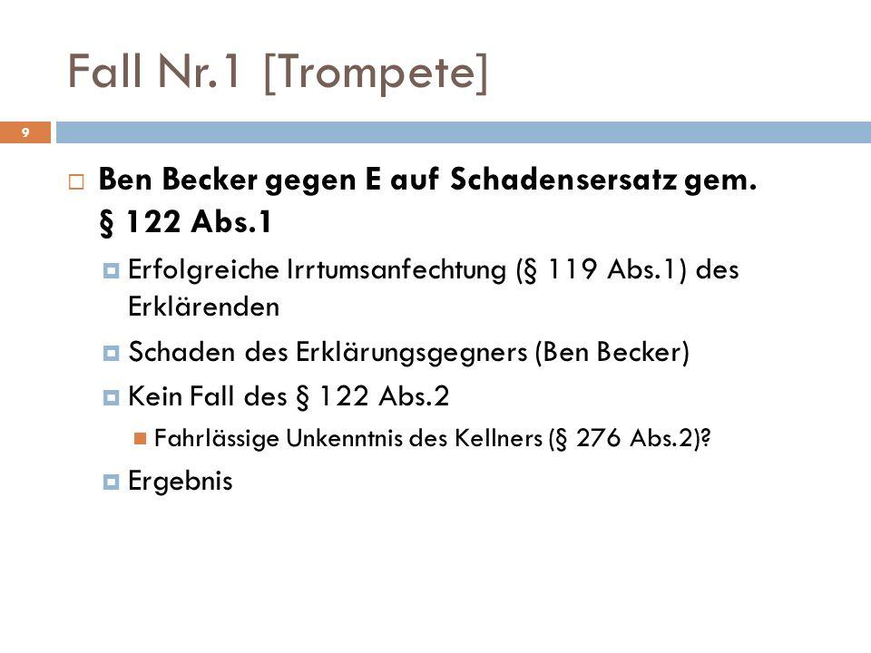Fall Nr.1 [Trompete] Ben Becker gegen E auf Schadensersatz gem. § 122 Abs.1 Erfolgreiche Irrtumsanfechtung (§ 119 Abs.1) des Erklärenden Schaden des E