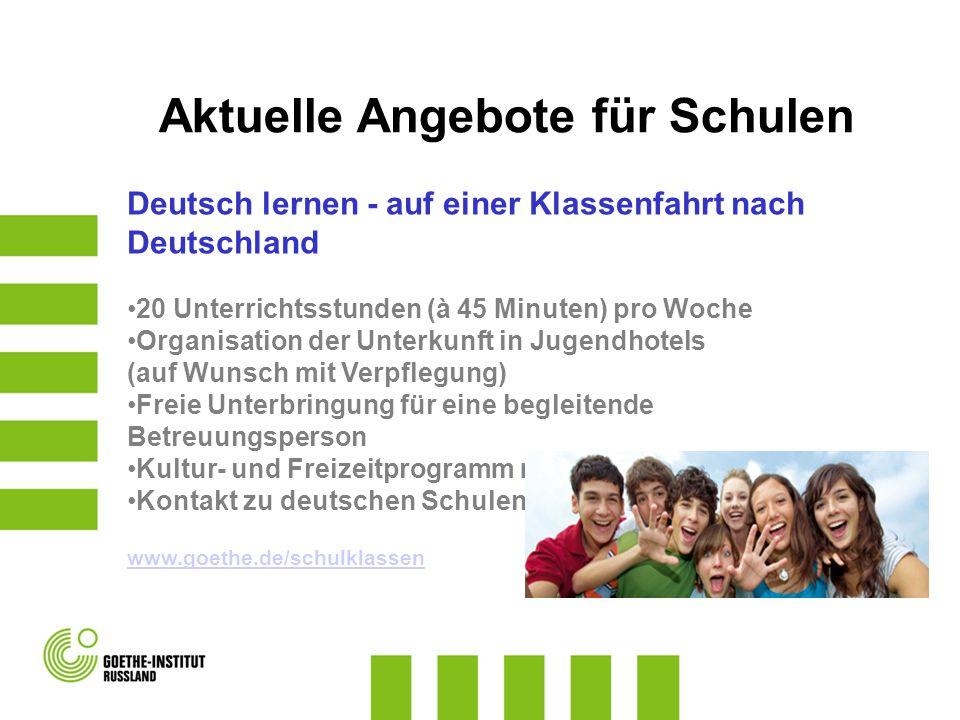 Deutsch lernen - auf einer Klassenfahrt nach Deutschland 20 Unterrichtsstunden (à 45 Minuten) pro Woche Organisation der Unterkunft in Jugendhotels (a