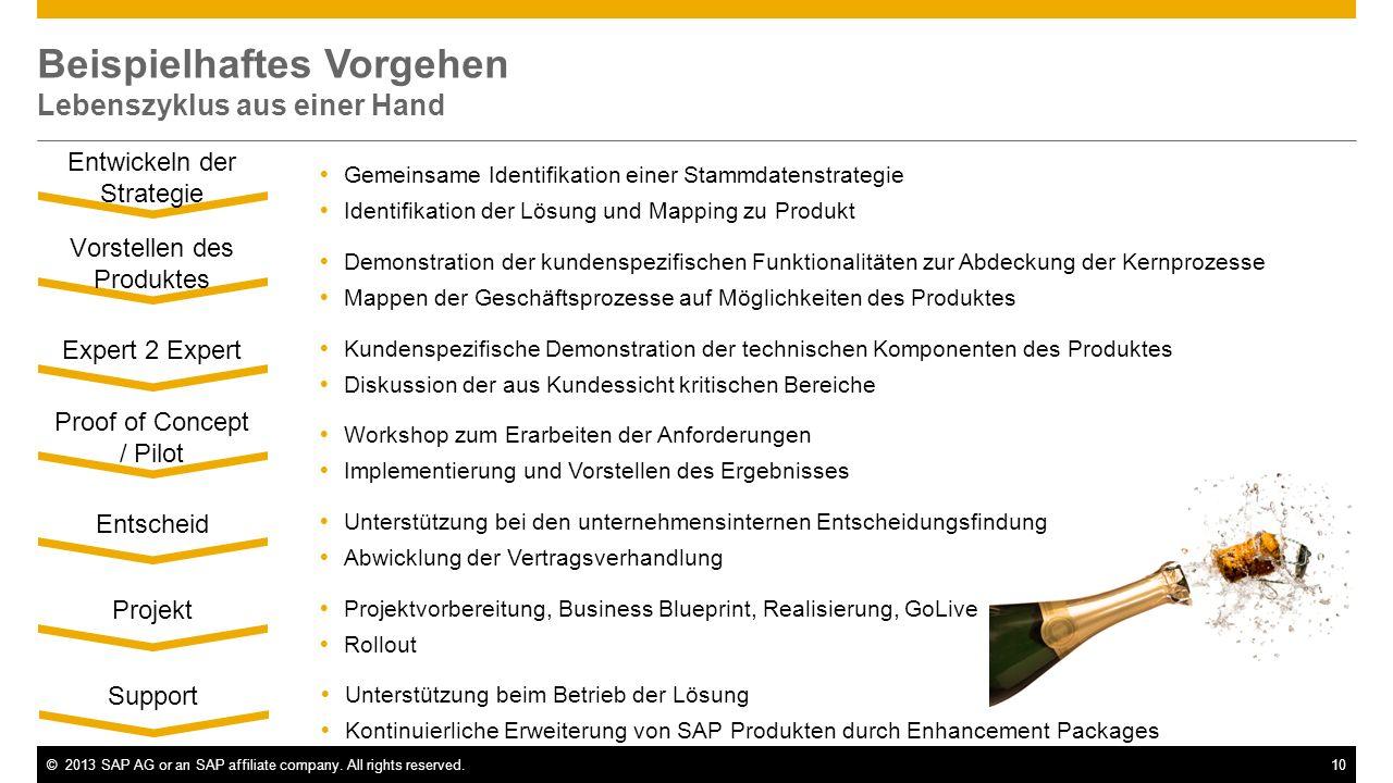 ©2013 SAP AG or an SAP affiliate company. All rights reserved.10 Beispielhaftes Vorgehen Lebenszyklus aus einer Hand Gemeinsame Identifikation einer S