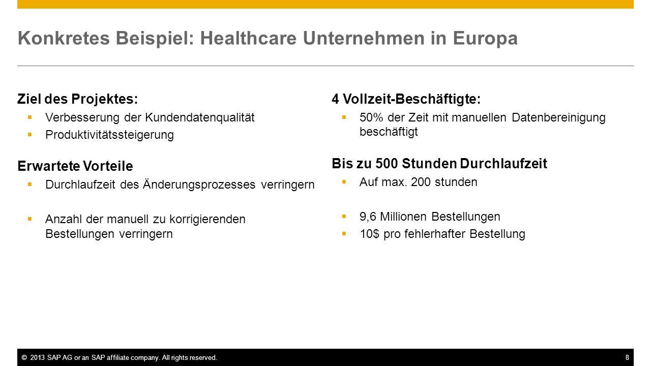 ©2013 SAP AG or an SAP affiliate company. All rights reserved.8 Konkretes Beispiel: Healthcare Unternehmen in Europa Ziel des Projektes: Verbesserung