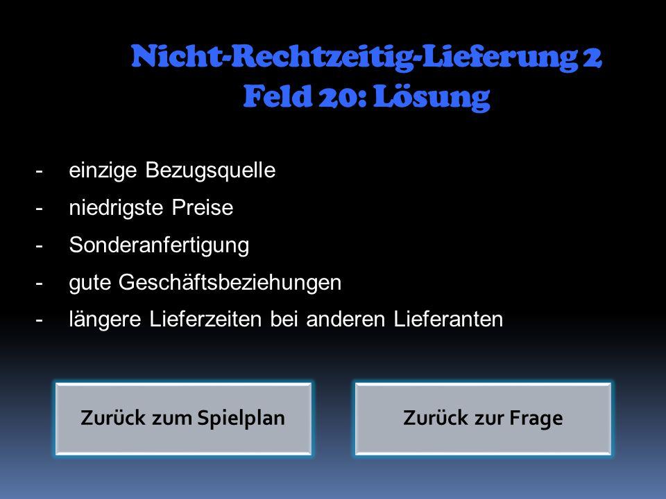 Nicht-Rechtzeitig-Lieferung 2 Feld 20: Lösung -einzige Bezugsquelle -niedrigste Preise -Sonderanfertigung -gute Geschäftsbeziehungen -längere Lieferze