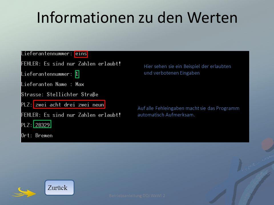 Informationen zu den Werten Betriebsanleitung DQI WaWi 2 Auf alle Fehleingaben macht sie das Programm automatisch Aufmerksam.