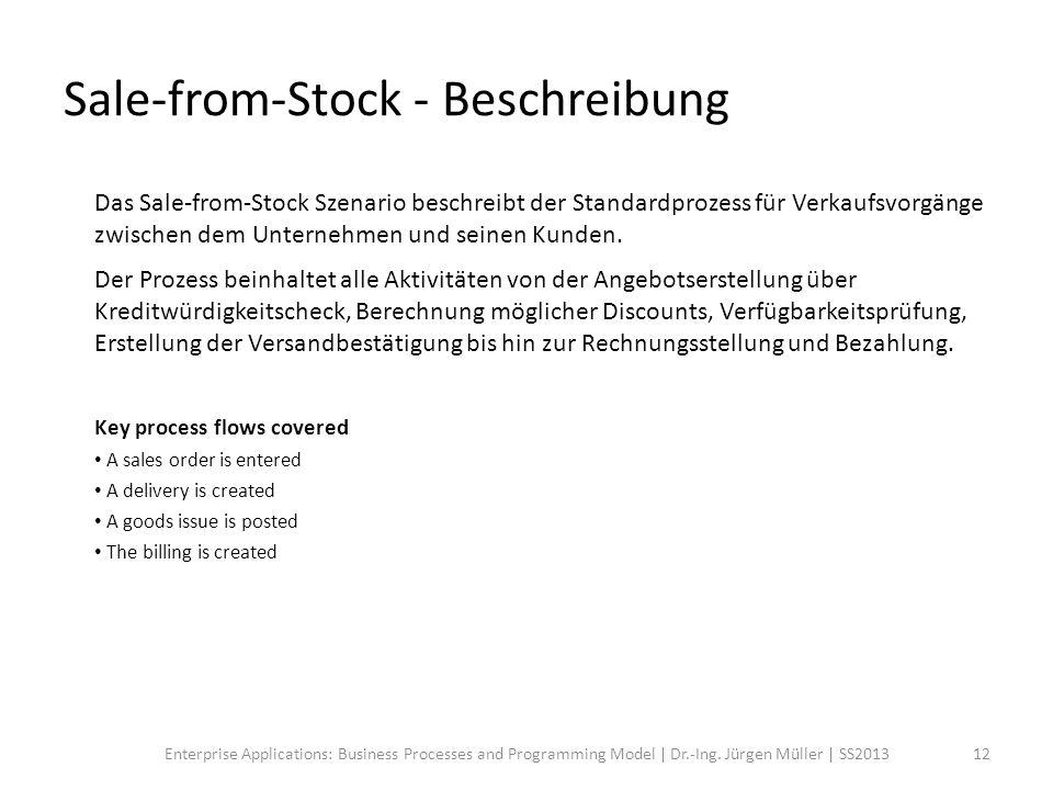 Das Sale-from-Stock Szenario beschreibt der Standardprozess für Verkaufsvorgänge zwischen dem Unternehmen und seinen Kunden. Der Prozess beinhaltet al