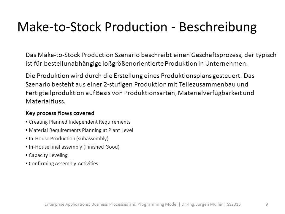 Make-to-Stock Production - Workflow 10