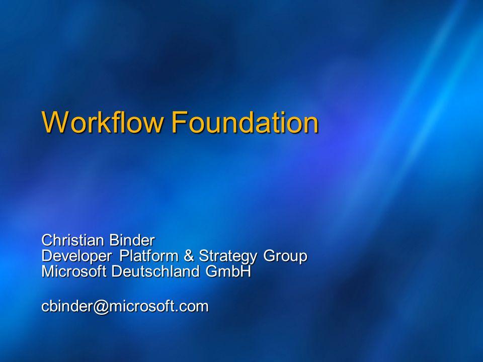 Workflow Foundation Christian Binder Developer Platform & Strategy Group Microsoft Deutschland GmbH cbinder@microsoft.com