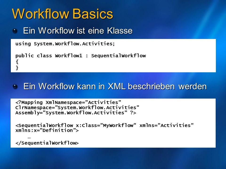 Workflow Basics Ein Workflow ist eine Klasse Ein Workflow kann in XML beschrieben werden … using System.Workflow.Activities; public class Workflow1 :