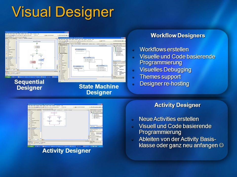 Visual Designer Workflow Designers Workflows erstellen Visuelle und Code basierende Programmierung Visuelles Debugging Themes support Designer re-host