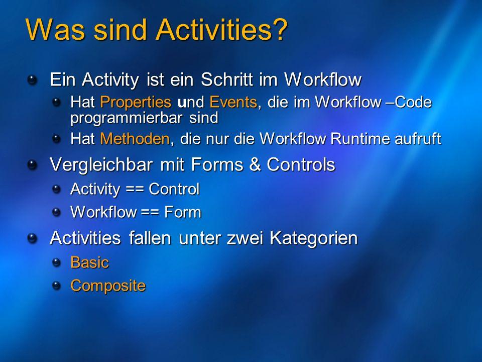 Was sind Activities? Ein Activity ist ein Schritt im Workflow Hat Properties und Events, die im Workflow –Code programmierbar sind Hat Methoden, die n