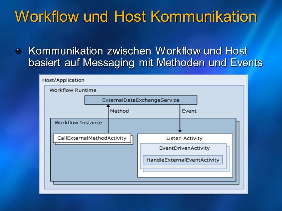 Workflow und Host Kommunikation Kommunikation zwischen Workflow und Host basiert auf Messaging mit Methoden und Events