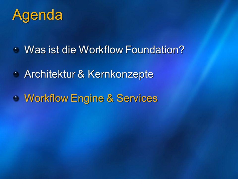 Agenda Was ist die Workflow Foundation? Architektur & Kernkonzepte Workflow Engine & Services