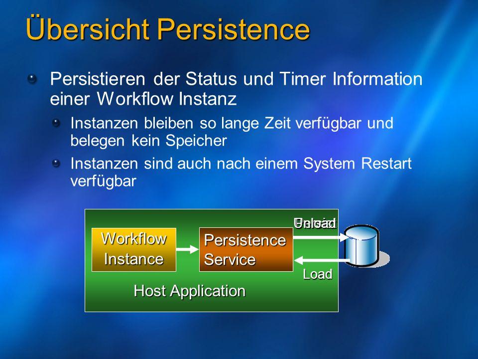 PersistenceService Host Application WorkflowInstance Persist Load Unload Übersicht Persistence Persistieren der Status und Timer Information einer Wor