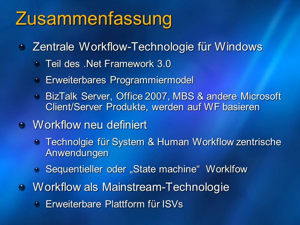 Zusammenfassung Zentrale Workflow-Technologie für Windows Teil des.Net Framework 3.0 Erweiterbares Programmiermodel BizTalk Server, Office 2007, MBS &