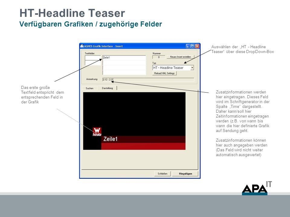 HT-Headline Teaser Verfügbaren Grafiken / zugehörige Felder Auswählen der HT - Headline Teaser über diese DropDown-Box Das erste große Textfeld entspricht dem entsprechenden Feld in der Grafik Zusatzinformationen werden hier eingetragen.