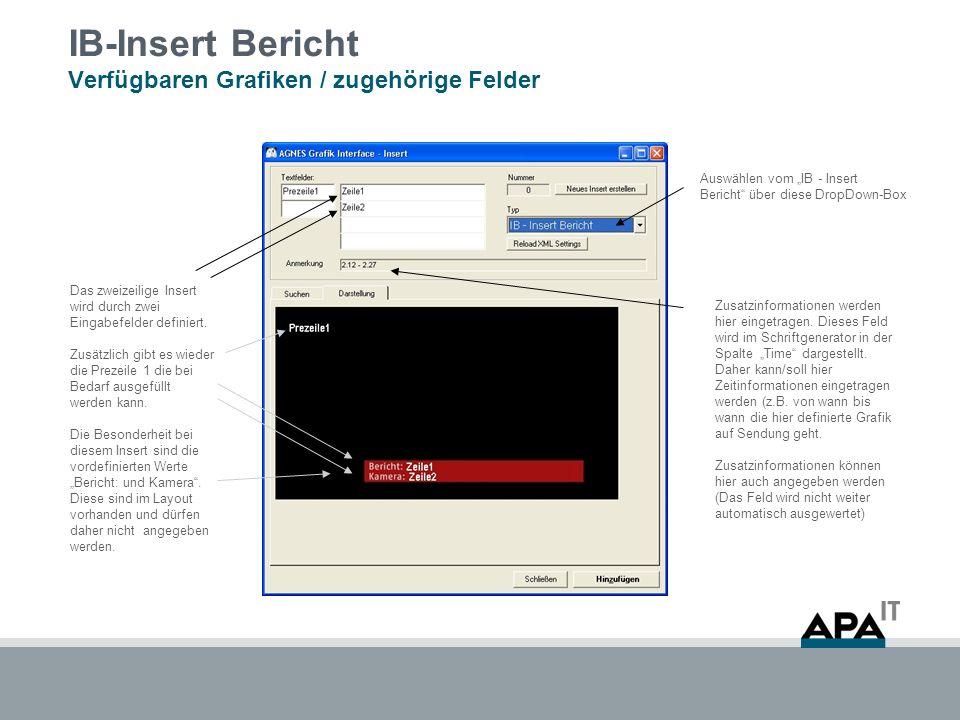 IB-Insert Bericht Verfügbaren Grafiken / zugehörige Felder Auswählen vom IB - Insert Bericht über diese DropDown-Box Zusatzinformationen werden hier eingetragen.
