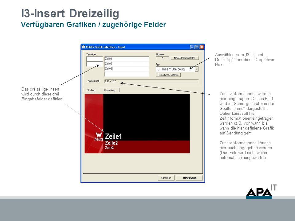 I3-Insert Dreizeilig Verfügbaren Grafiken / zugehörige Felder Auswählen vom I3 - Insert Dreizeilig über diese DropDown- Box Zusatzinformationen werden