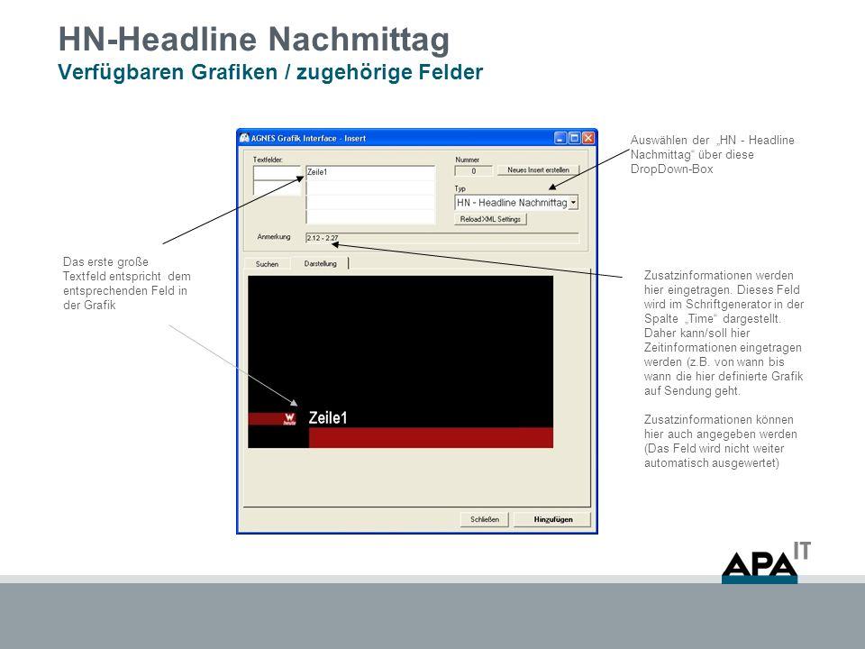 HN-Headline Nachmittag Verfügbaren Grafiken / zugehörige Felder Auswählen der HN - Headline Nachmittag über diese DropDown-Box Das erste große Textfel