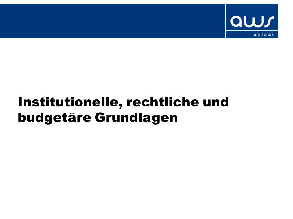 Institutionelle, rechtliche und budgetäre Grundlagen
