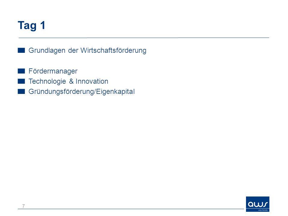 Tag 1 Grundlagen der Wirtschaftsförderung Fördermanager Technologie & Innovation Gründungsförderung/Eigenkapital 7