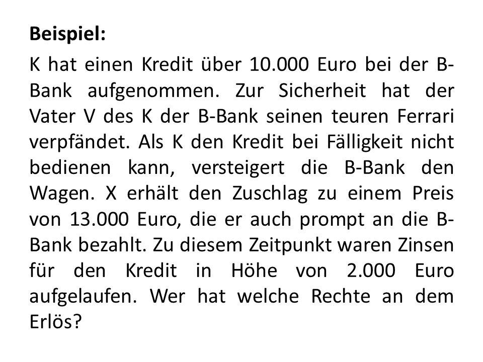 Beispiel: K hat einen Kredit über 10.000 Euro bei der B- Bank aufgenommen. Zur Sicherheit hat der Vater V des K der B-Bank seinen teuren Ferrari verpf
