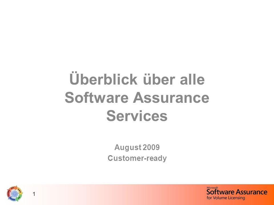 1 Überblick über alle Software Assurance Services August 2009 Customer-ready
