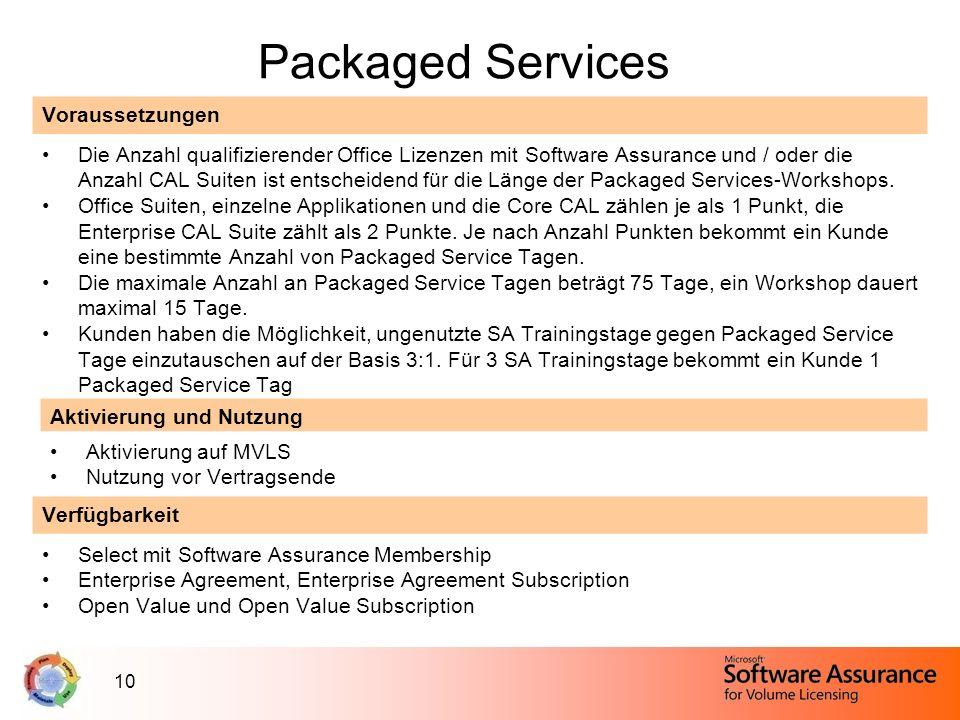 10 Packaged Services Voraussetzungen Die Anzahl qualifizierender Office Lizenzen mit Software Assurance und / oder die Anzahl CAL Suiten ist entscheid