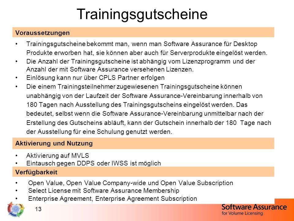 13 Trainingsgutscheine Voraussetzungen Trainingsgutscheine bekommt man, wenn man Software Assurance für Desktop Produkte erworben hat, sie können aber