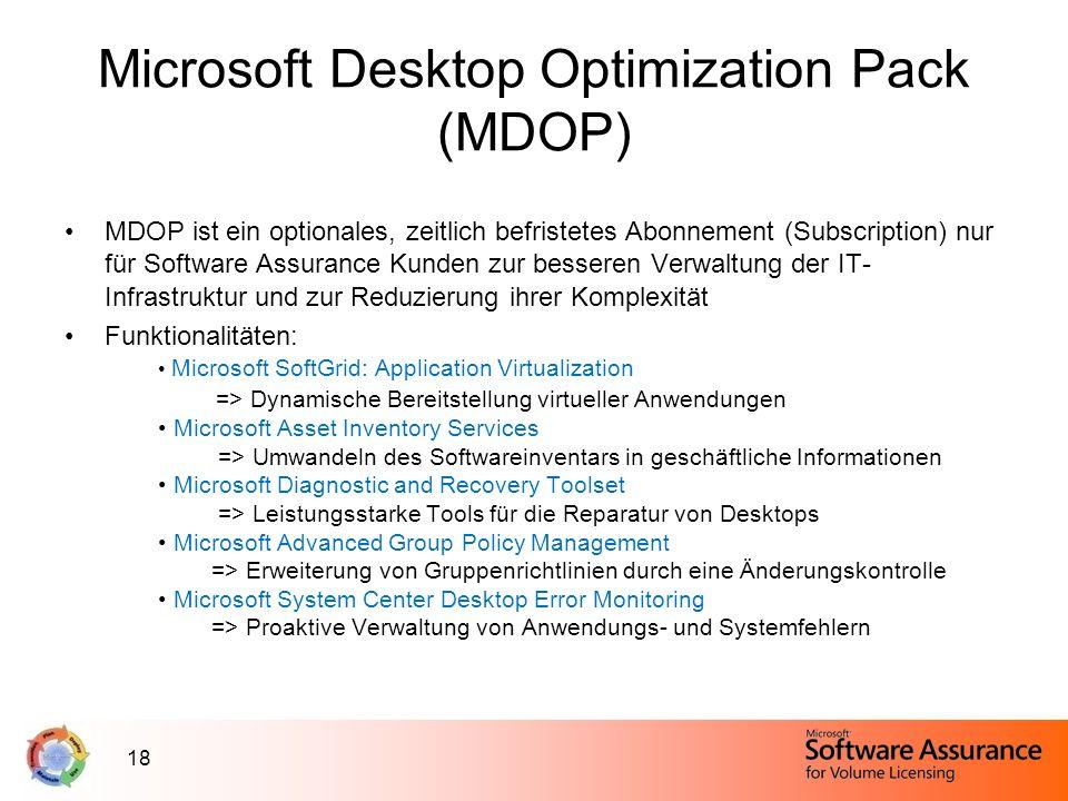 18 Microsoft Desktop Optimization Pack (MDOP) MDOP ist ein optionales, zeitlich befristetes Abonnement (Subscription) nur für Software Assurance Kunde