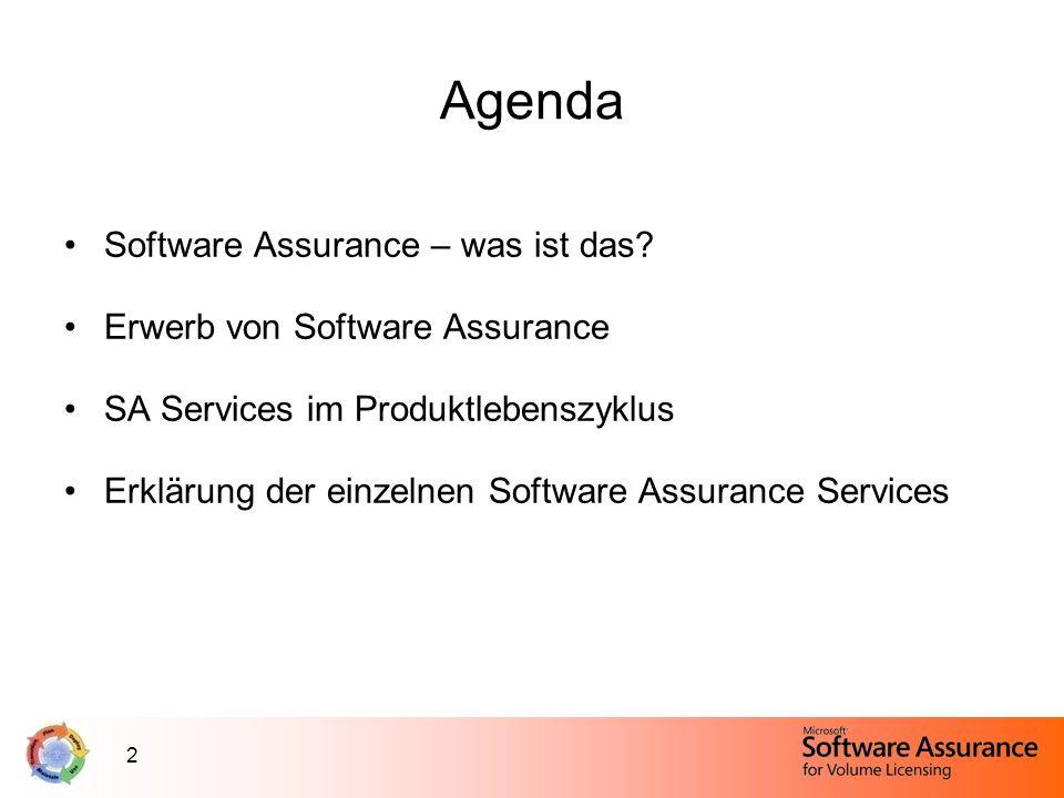 2 Agenda Software Assurance – was ist das? Erwerb von Software Assurance SA Services im Produktlebenszyklus Erklärung der einzelnen Software Assurance
