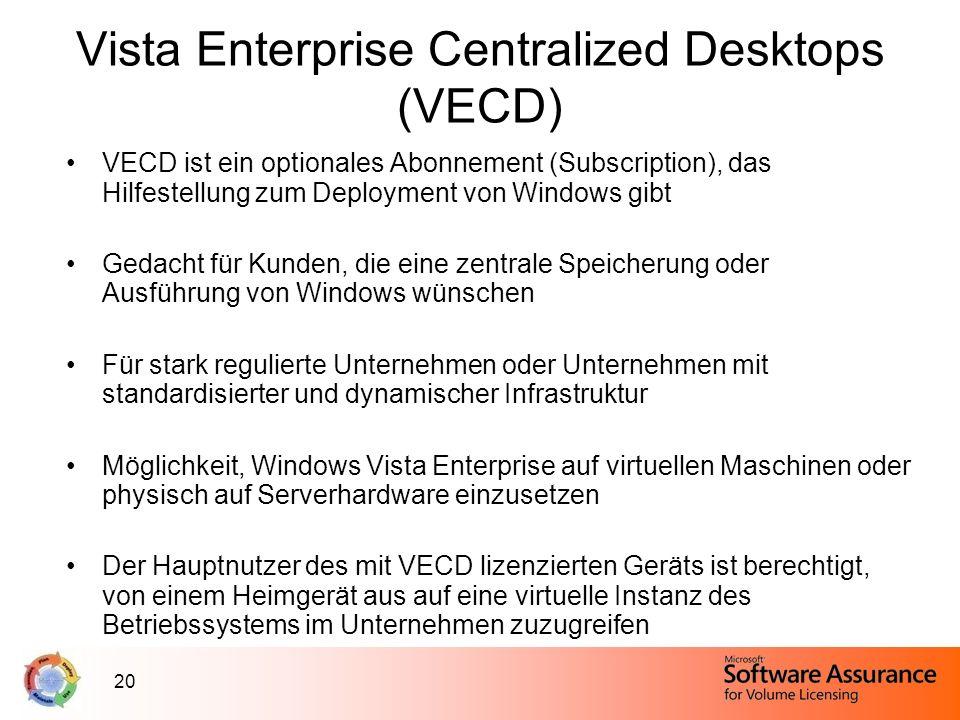 20 Vista Enterprise Centralized Desktops (VECD) VECD ist ein optionales Abonnement (Subscription), das Hilfestellung zum Deployment von Windows gibt G