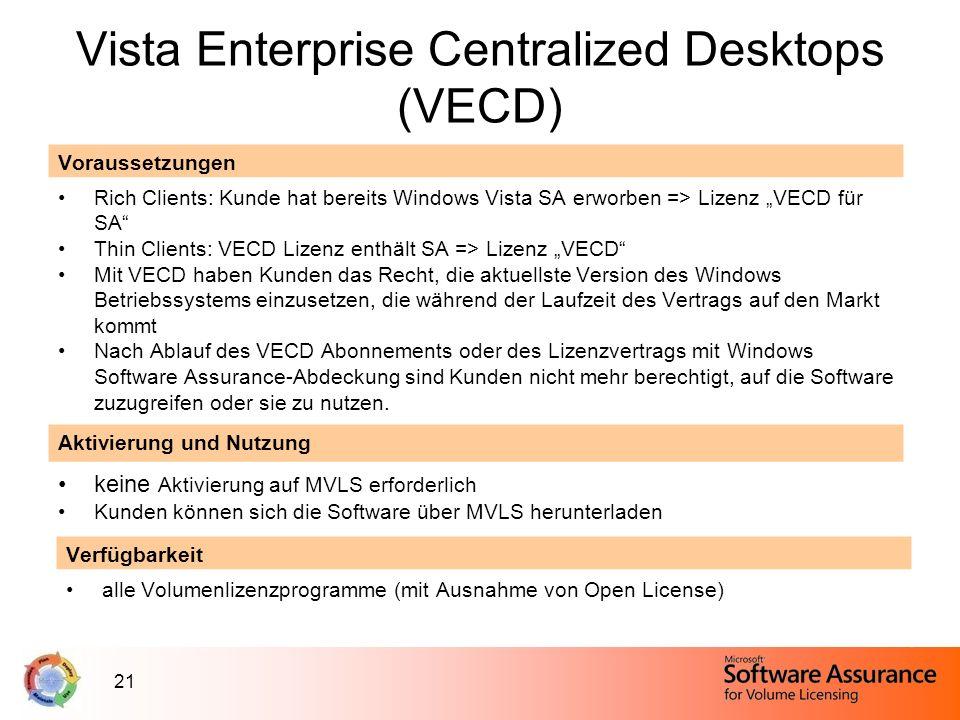 21 Vista Enterprise Centralized Desktops (VECD) Voraussetzungen Rich Clients: Kunde hat bereits Windows Vista SA erworben => Lizenz VECD für SA Thin C