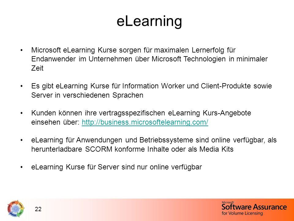 22 eLearning Microsoft eLearning Kurse sorgen für maximalen Lernerfolg für Endanwender im Unternehmen über Microsoft Technologien in minimaler Zeit Es