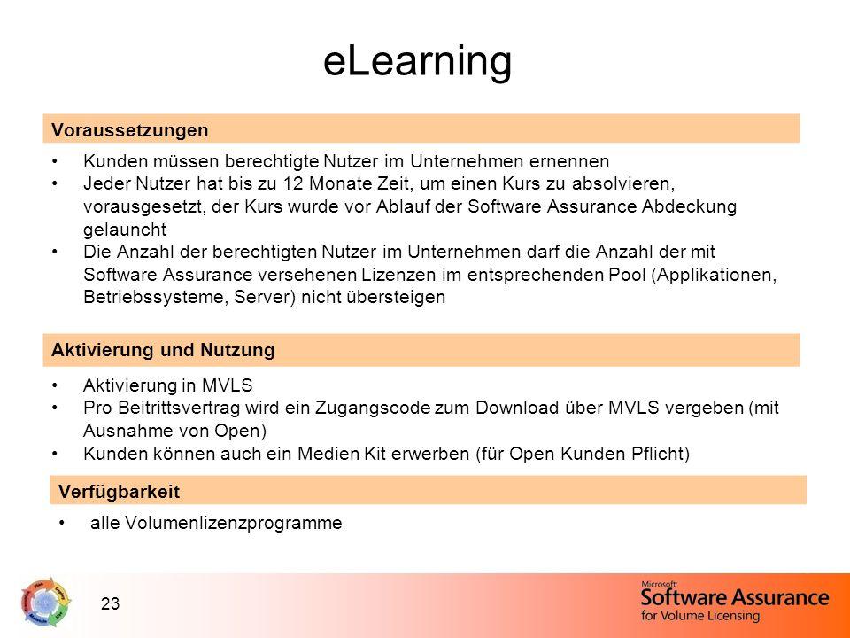 23 eLearning Voraussetzungen Kunden müssen berechtigte Nutzer im Unternehmen ernennen Jeder Nutzer hat bis zu 12 Monate Zeit, um einen Kurs zu absolvi