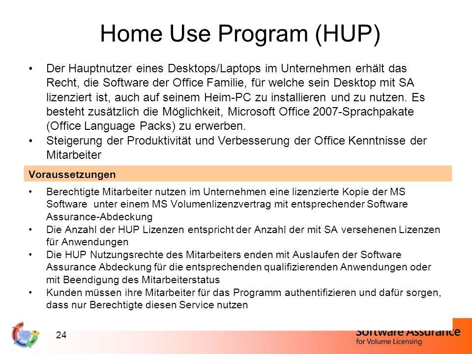 24 Home Use Program (HUP) Der Hauptnutzer eines Desktops/Laptops im Unternehmen erhält das Recht, die Software der Office Familie, für welche sein Des