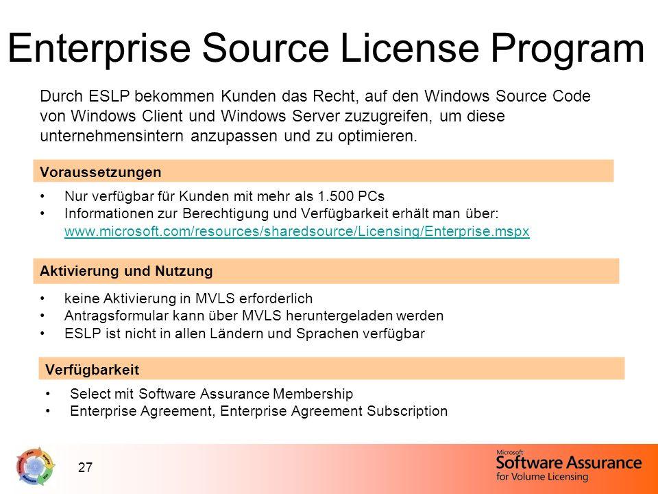 27 Enterprise Source License Program Durch ESLP bekommen Kunden das Recht, auf den Windows Source Code von Windows Client und Windows Server zuzugreif