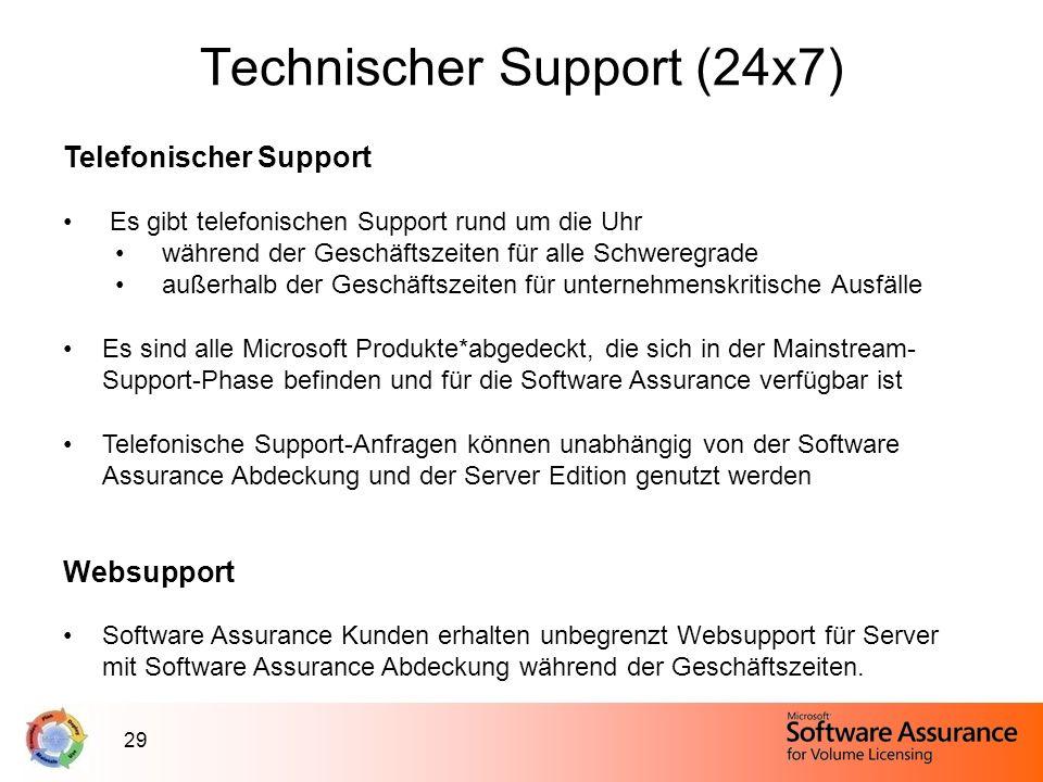 29 Technischer Support (24x7) Telefonischer Support Es gibt telefonischen Support rund um die Uhr während der Geschäftszeiten für alle Schweregrade au