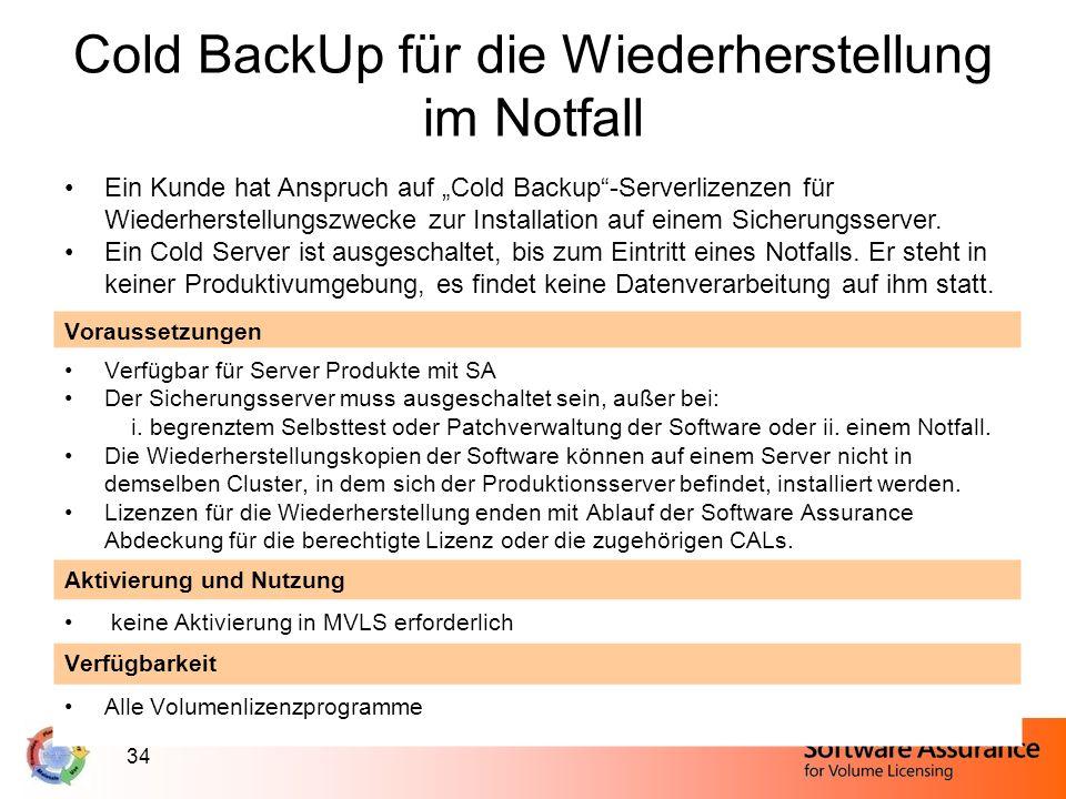 34 Cold BackUp für die Wiederherstellung im Notfall Ein Kunde hat Anspruch auf Cold Backup-Serverlizenzen für Wiederherstellungszwecke zur Installatio