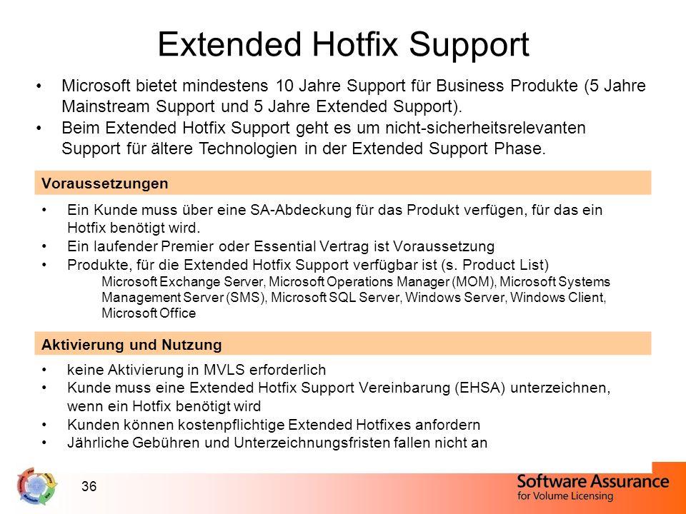 36 Extended Hotfix Support Microsoft bietet mindestens 10 Jahre Support für Business Produkte (5 Jahre Mainstream Support und 5 Jahre Extended Support