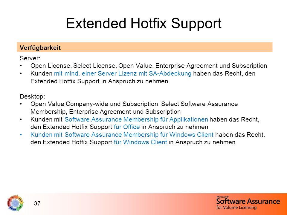 37 Extended Hotfix Support Verfügbarkeit Server: Open License, Select License, Open Value, Enterprise Agreement und Subscription Kunden mit mind. eine